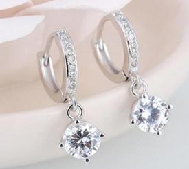 925 Sterling Silver Earrings Mosaic CZ Four Claw Drop Earrings + Gift Bag
