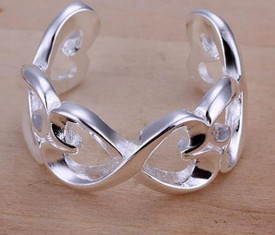 925 Sterling Silver interlocking Hearts Ring Adjustable