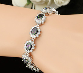 925 Sterling Silver Royal Tennis Bracelet Mystic Rainbow Fire + Oval Topaz 18.5cm + Gift Bag
