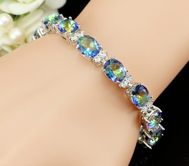 925 Sterling Silver Tennis Bracelet Mystic Rainbow Fire Oval Topaz Gemstone  17.5cm Adjustable + Gift Bag