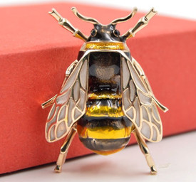 Bumble Bee Brooch Gold Yellow Insect Lapel Pin On Trend + Gift Bag