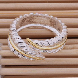 925 Sterling Silver Feather Ring Adjustable With Gold Band