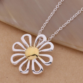925 Marked Sterling Silver Daisy Flower Pendant Necklace 45cm