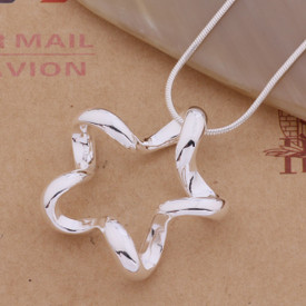 925 Marked Sterling Silver 3D Hollow Star Pendant Necklace 45cm