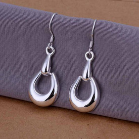 925 Marked Sterling Silver Hooves Circle Drop Earrings  + Gift Bag