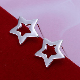 925 Marked Sterling Silver Star Stud Earrings  + Gift Bag