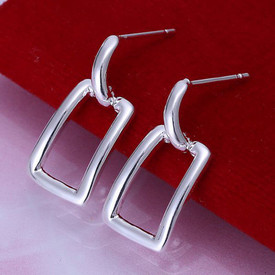 925 Marked Sterling Silver Hollow Square Drop Earrings  + Gift Bag