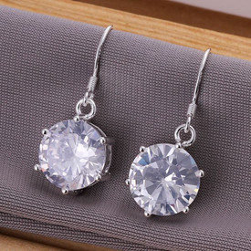 925 Marked Sterling Silver Cubic Zirconia Drop Earrings  + Gift Bag