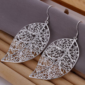 925 Marked Sterling Silver Hollow Leaf Drop Earrings  + Gift Bag