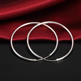 925 Sterling Silver Hoop/Sleeper Round 60mm Earrings