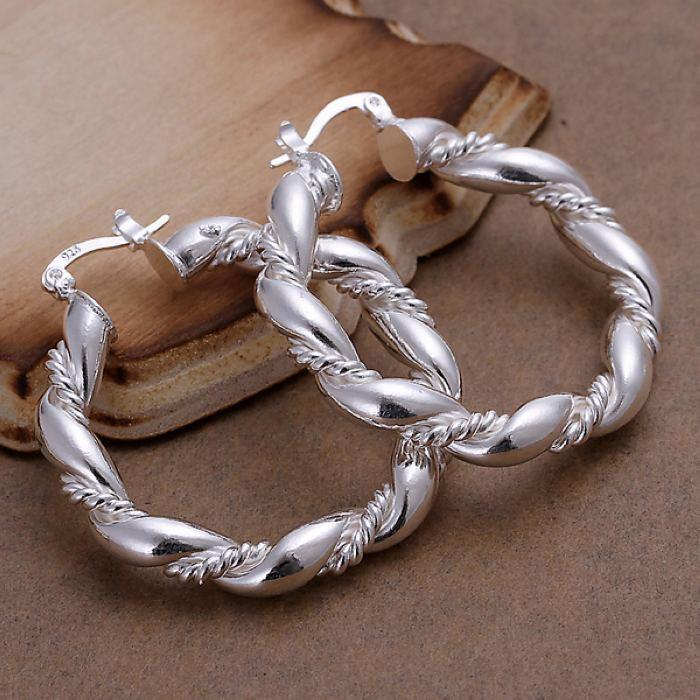 925 Sterling Silver Chunky Twisted Rope Hoop 40mm Earrings