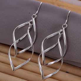 925 Sterling Silver Swirly Twist Long Drop Earrings
