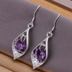 925 Sterling Silver Drop Earrings Purple Crystal inset
