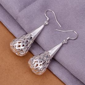 925 Sterling Silver Filigree Lattice Water Drop Earrings
