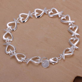 925 Sterling Silver Interlocking Hearts Bangle Bracelet 20cm