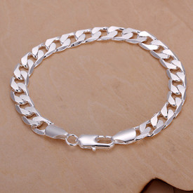 925 Sterling Silver Men's Side Curb Chain 8mm Bracelet 20cm Length