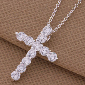925 Crystal Cross Necklace Sterling Silver Pendant Chain Jesus 45cm