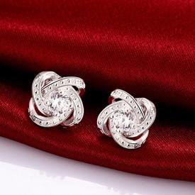 925 Sterling Silver Knot Halo Crystal CZ Love Stud Earrings