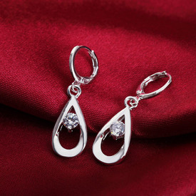 925 Sterling Silver Drop Dangle Earrings CZ Crystal inset