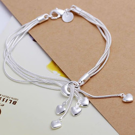 925 Sterling Silver 5 Strand Hearts Charm Bracelet Bangle Adjustable 20cm