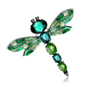 Green Dragonfly Brooch Diamante Crystal Faceted Stones Lapel Pin Broach + Gift Bag