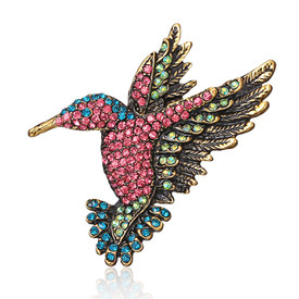 Hummingbird Brooch Diamante Crystal Lapel Pin Bird Gold Colour Broach + Gift Bag