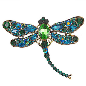Blue & Green Dragonfly Brooch Diamante Crystal Faceted Stones Lapel Pin Broach + Gift Bag