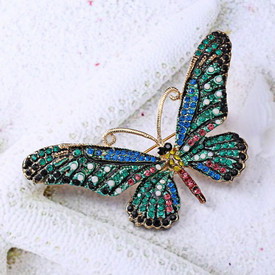 Butterfly Brooch Turquoise Blue & Green Rhinestone Lapel Pin Broach + Gift Bag