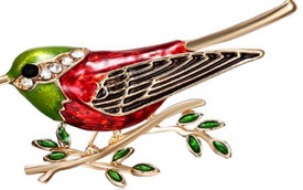 Red Green Gold Robin Bird Brooch  Diamante Crystal Lapel Pin Bird Broach + Gift Bag