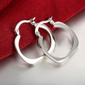 925 Sterling Silver Square Hoop Earrings 20mm + Gift Bag