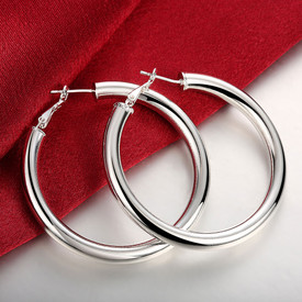 925 Sterling Silver Large Hollow Hoop Earrings 50mm + Gift Bag
