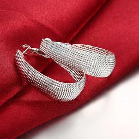 925 Sterling Silver Oval Mesh Hoop Earrings  + Gift Bag