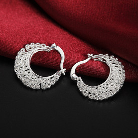 925 Sterling Silver Vintage Basket Moon Hoop Earrings  + Gift Bag