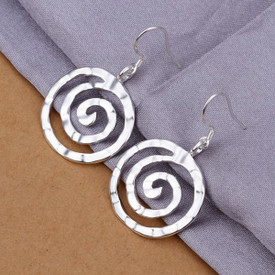 925 Sterling Silver Squiggle Spiral Drop Earrings  + Gift Bag