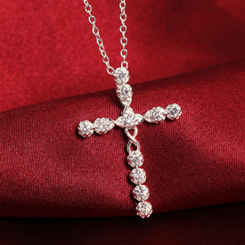 925 Sterling Silver Crystal Cross Necklace  Pendant Chain 45cm
