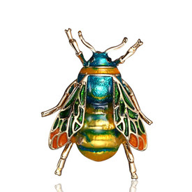 Bumble Bee Brooch Gold Green Insect Lapel Pin + Gift Bag