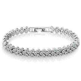 925 Silver Crystal Diamante Rhinestone Tennis Bracelet 18cm  +  Gift Bag