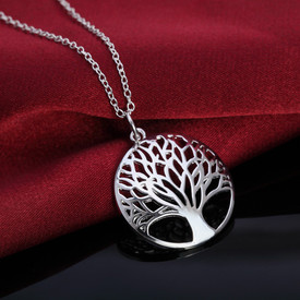 Tree of Life 925 Stamped Sterling Silver Pendant Necklace 45cm  + Gift Bag