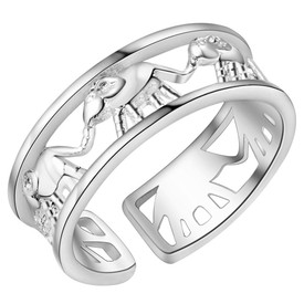 925 Sterling Silver Elephant Ring Adjustable