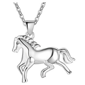 925 Stamped Sterling Silver Horse Pendant Necklace 45cm  + Gift Bag