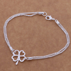 925 Stamped Sterling 4 Leaf Clover Bracelet 20cm  + Gift Bag
