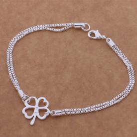 925 Stamped Sterling 4 Leaf Clover Bracelet 20cm  + Gift Bag