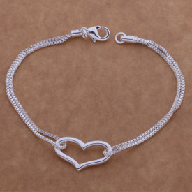 925 Stamped Sterling Silver Heart Bracelet 20cm  + Gift Bag