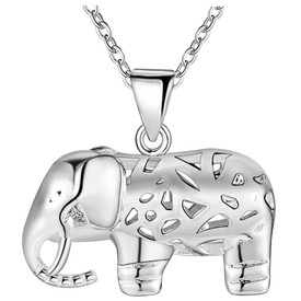 925 Marked Sterling Silver Hollow Elephant Pendant Necklace 45cm + Bag