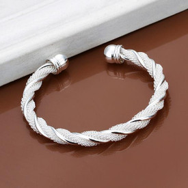 Silver Plated Twist Rope/Distort Bangle 16.5cm  + Gift Bag