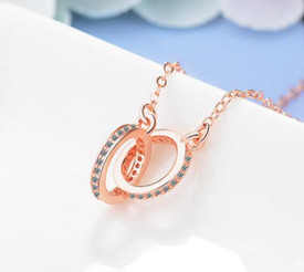 Rose Gold Plated CZ Infinity/Karma Double Circle Necklace + Gift Bag
