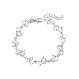 925 Sterling Silver Hearts Charm Bracelet 20cm + Gift Bag