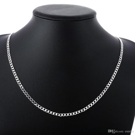925 Stamped Sterling Silver Curb Chain Necklace Man/Woman 45cm  + Gift Bag