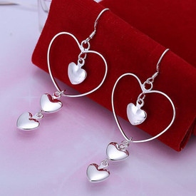 925 Sterling Silver Triple Heart Drop Dangle Love Earrings Hoop + Gift Bag