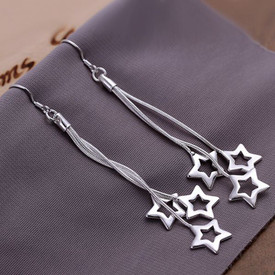 925 Sterling Silver Triple Star Drop Dangle Earrings Hook  + Gift Bag